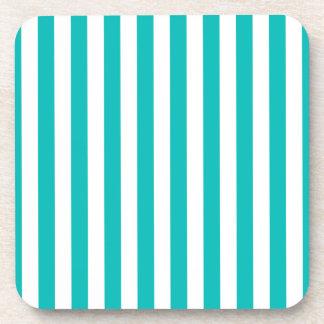 Aqua Vertical Stripes Coaster