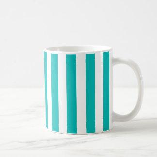 Aqua Vertical Stripes Coffee Mug