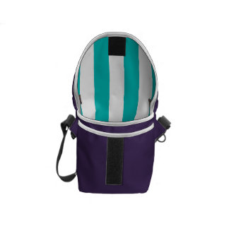 Aqua Vertical Stripes Commuter Bag