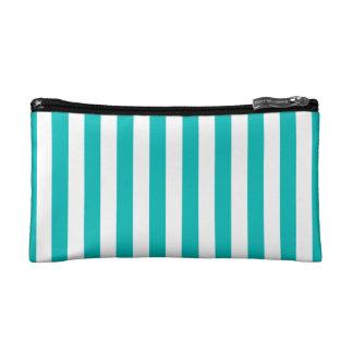 Aqua Vertical Stripes Cosmetics Bags
