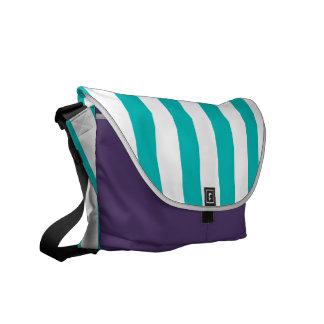 Aqua Vertical Stripes Courier Bag