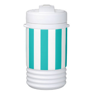 Aqua Vertical Stripes Drinks Cooler