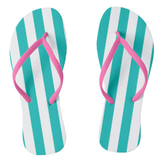 Aqua Vertical Stripes Flip Flops