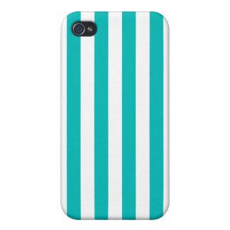 Aqua Vertical Stripes iPhone 4 Covers