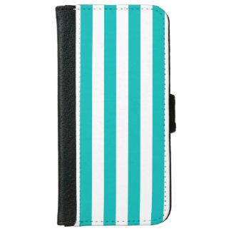 Aqua Vertical Stripes iPhone 6 Wallet Case