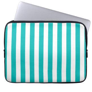 Aqua Vertical Stripes Laptop Sleeve
