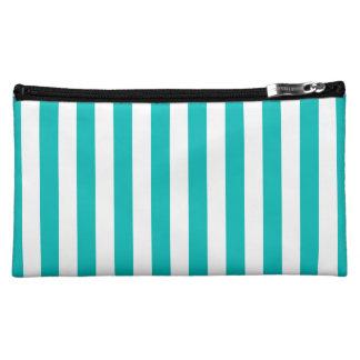 Aqua Vertical Stripes Makeup Bag