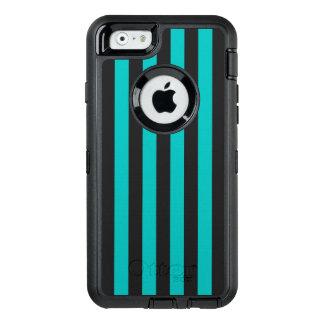 Aqua Vertical Stripes OtterBox Defender iPhone Case