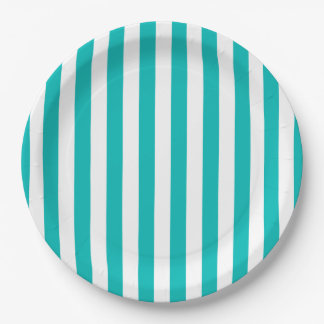 Aqua Vertical Stripes Paper Plate