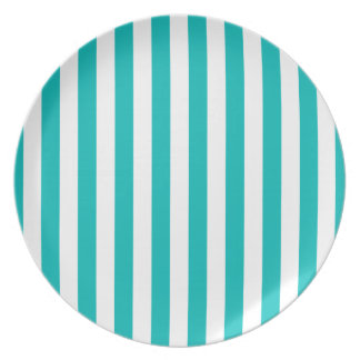 Aqua Vertical Stripes Party Plate