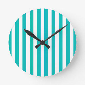 Aqua Vertical Stripes Round Clock