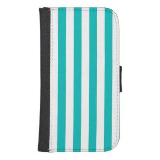 Aqua Vertical Stripes Samsung S4 Wallet Case