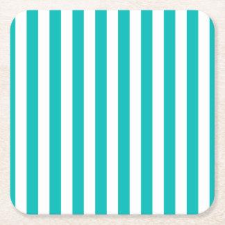 Aqua Vertical Stripes Square Paper Coaster