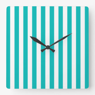 Aqua Vertical Stripes Square Wall Clock
