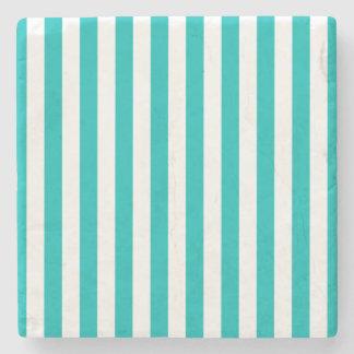 Aqua Vertical Stripes Stone Coaster