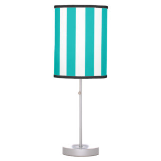 Aqua Vertical Stripes Table Lamp