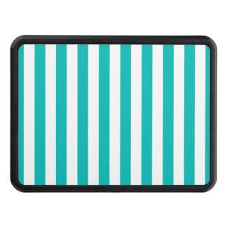 Aqua Vertical Stripes Trailer Hitch Cover