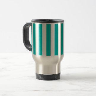 Aqua Vertical Stripes Travel Mug