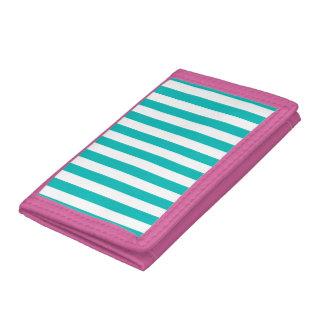 Aqua Vertical Stripes Tri-fold Wallet