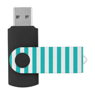 Aqua Vertical Stripes USB Flash Drive