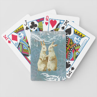 Aqua Victorian Easter Rabbit Bunnies Poker Deck
