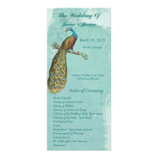 Aqua Vintage Bird Wedding Program Order of Service Full Color Rack Card