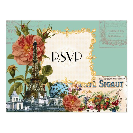 Aqua Vintage Eiffel Tower Rose Save the Date Card