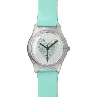 Aqua Vintage Floral Heart Watch