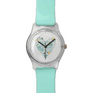 Aqua Vintage Floral Heart Wristwatches