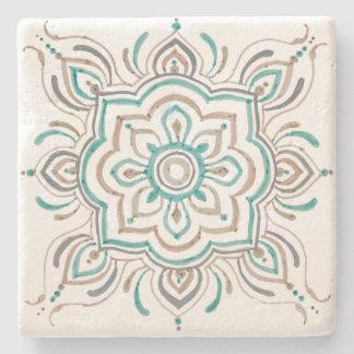 Aqua vintage Spanish tile design coaster