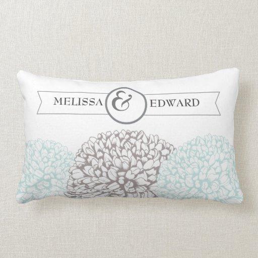 Aqua Vintage Zinnias Wedding Ring Bearer Pillow