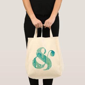 Aqua Watercolor Ampersand Tote Bag