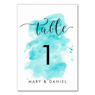 Aqua Watercolor Background Wedding Table Number Table Card