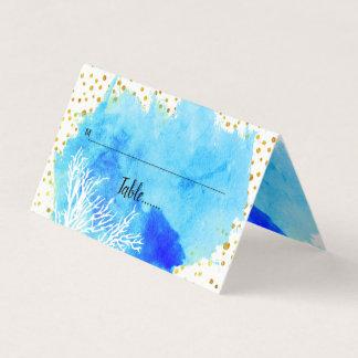 Aqua watercolor, coral reef & confetti escort card