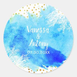 Aqua watercolor, coral reef, gold confetti wedding classic round sticker