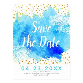 Aqua watercolor, coral reef wedding Save the Date Postcard