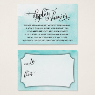 Aqua Watercolor Display Bridal Shower Gift Tag