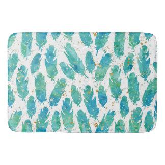Aqua Watercolor Feathers Bath Mat
