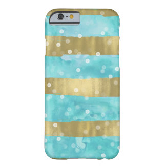 Aqua Watercolor Gold Stripes Bokeh Barely There iPhone 6 Case