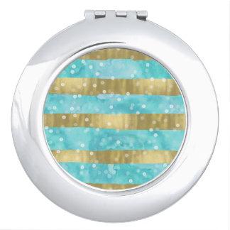 Aqua Watercolor Gold Stripes Bokeh Travel Mirror
