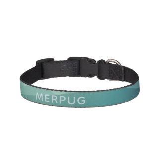 Aqua Watercolor Merpug Small Pug Dog Collar