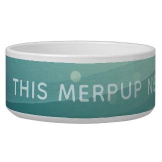 Aqua Watercolor Merpup Vitamin Sea Dog Food Bowl