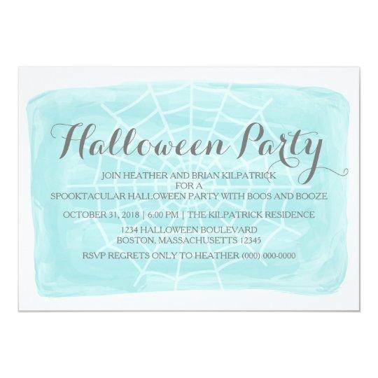 Aqua Watercolor Spider Web Halloween Party Invite
