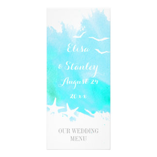 Aqua watercolor, starfish beach wedding menu