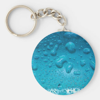 Aqua Waterdrops on Glass:- Basic Round Button Keychain