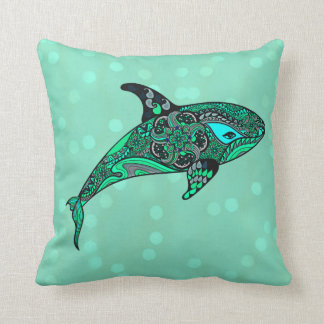 aqua Whale art design pillow