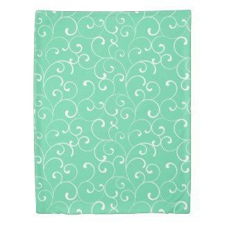 Aqua Whimsical Curls Pattern Duvet Cover