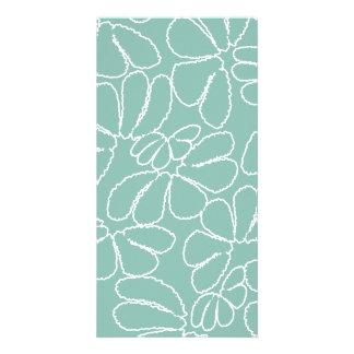 Aqua Whimsical Ikat Floral Petal Doodle Pattern Custom Photo Card