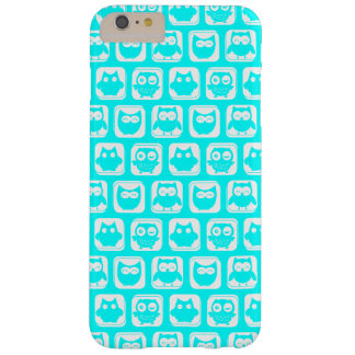 Aqua Whimsical Owl Pattern Barely There iPhone 6 Plus Case