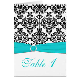 Aqua, White and Black Damask Table Number Card